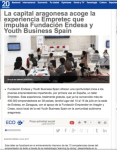 Taller Empretec de Youth Business Spain en 20minutos